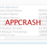 Имя события проблемы APPCRASH при завершении работы приложения