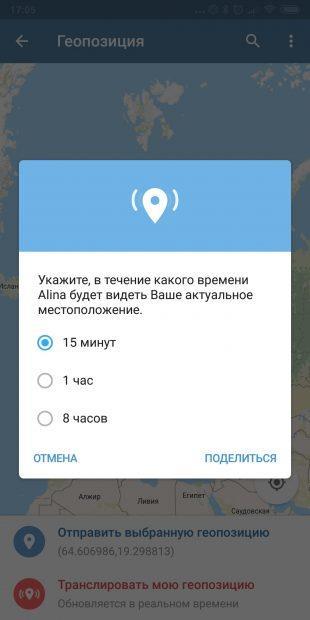 Трансляция геопозиции в Telegram