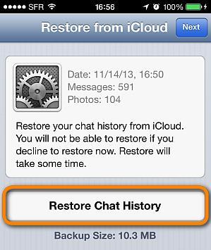 restore icloud backup whatsapp history