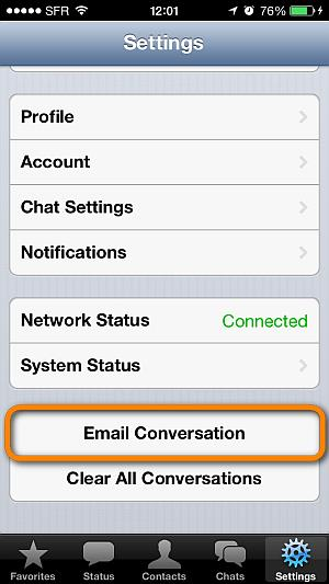 email whatsapp conversation from iphone