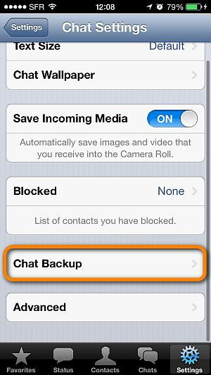 backup chat whatsapp via app settings