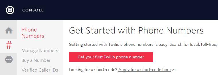получение телефонного номера в Twilio
