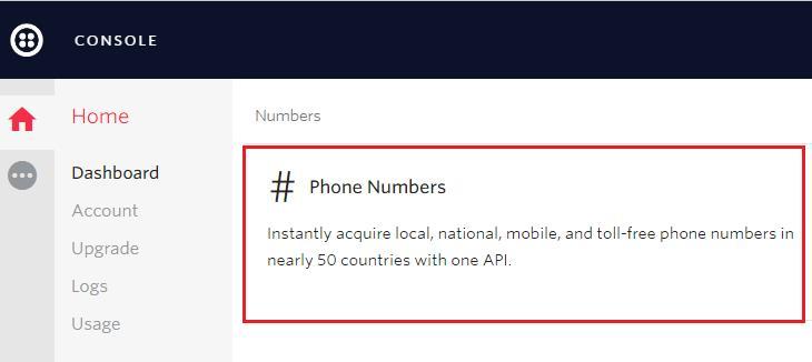 раздел Phone Numbers