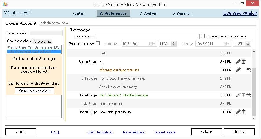 Как удалить прочитанные сообщения в Скайпе: Delete Skype History Network Edition