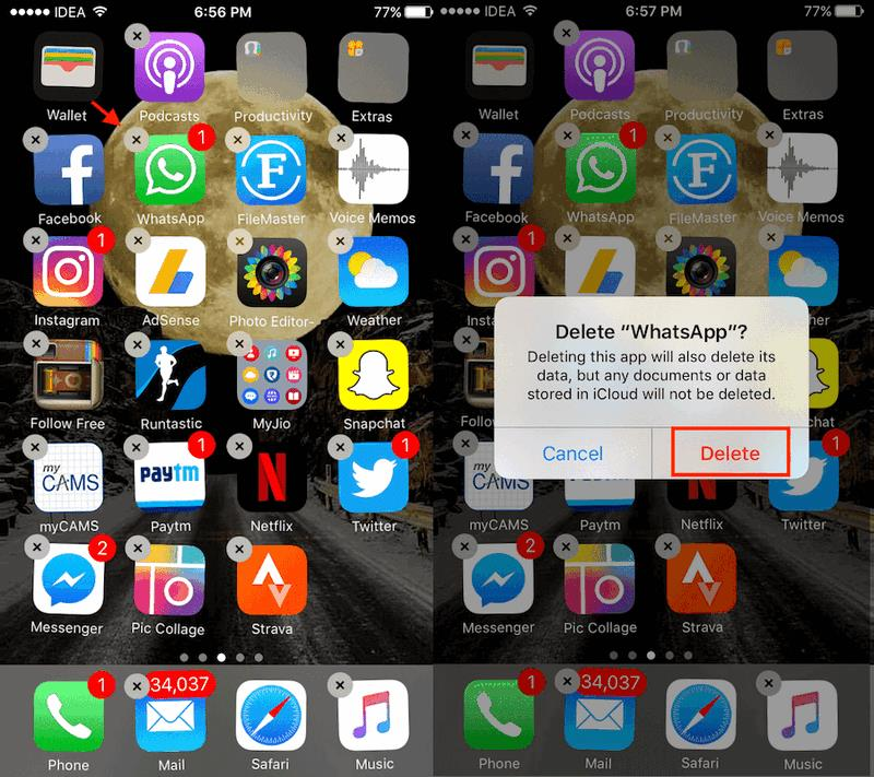 Окно удаления приложения WhatsApp в iOS