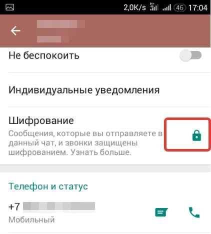 шифрование включено.