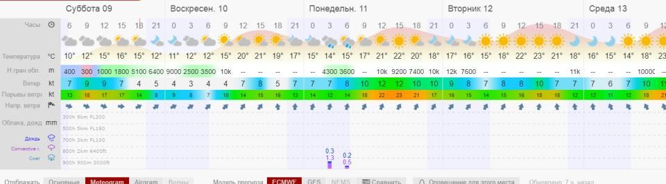 Метеограмма windy.tv